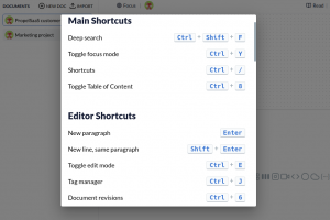 Archbee keyboard shortcuts