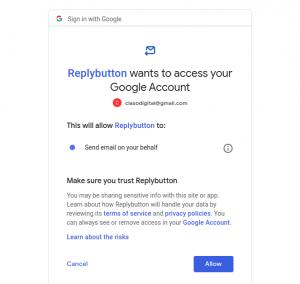 ReplyButton Gmail set up