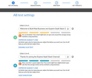 Automizy A/B test