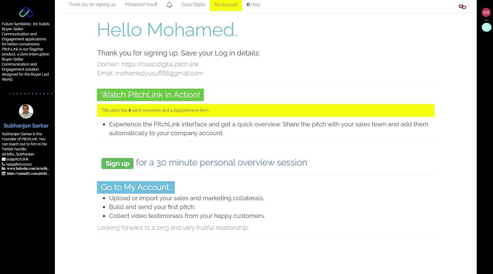 Pitch.Link onboarding