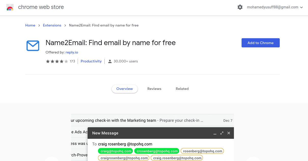 Reply name to email extension