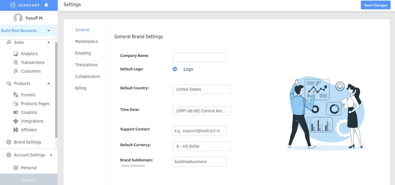 Leadcart brand settings