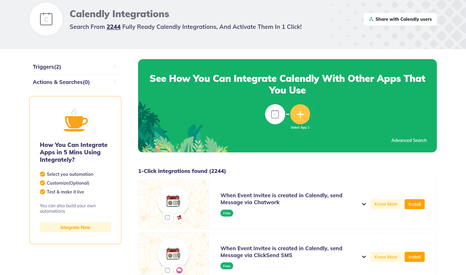 Integrately - Available one click Integrations for Calendly