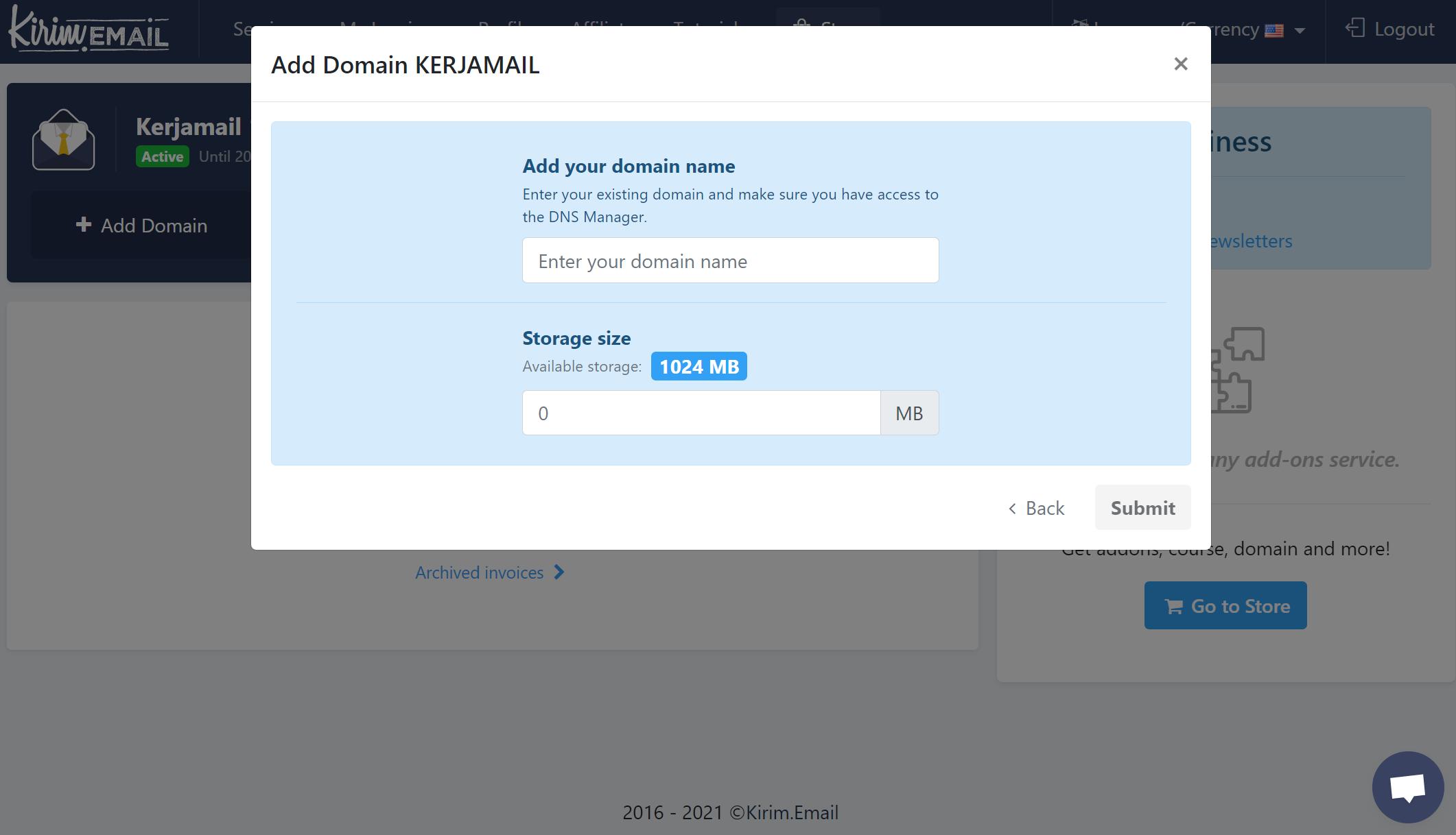 Kerjamail - Adding New Domain