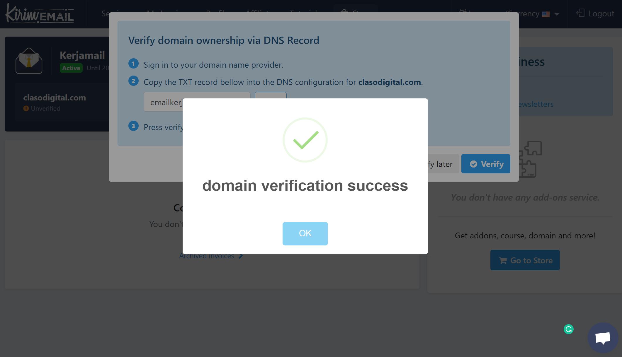 Kerjamail - Domain Verification