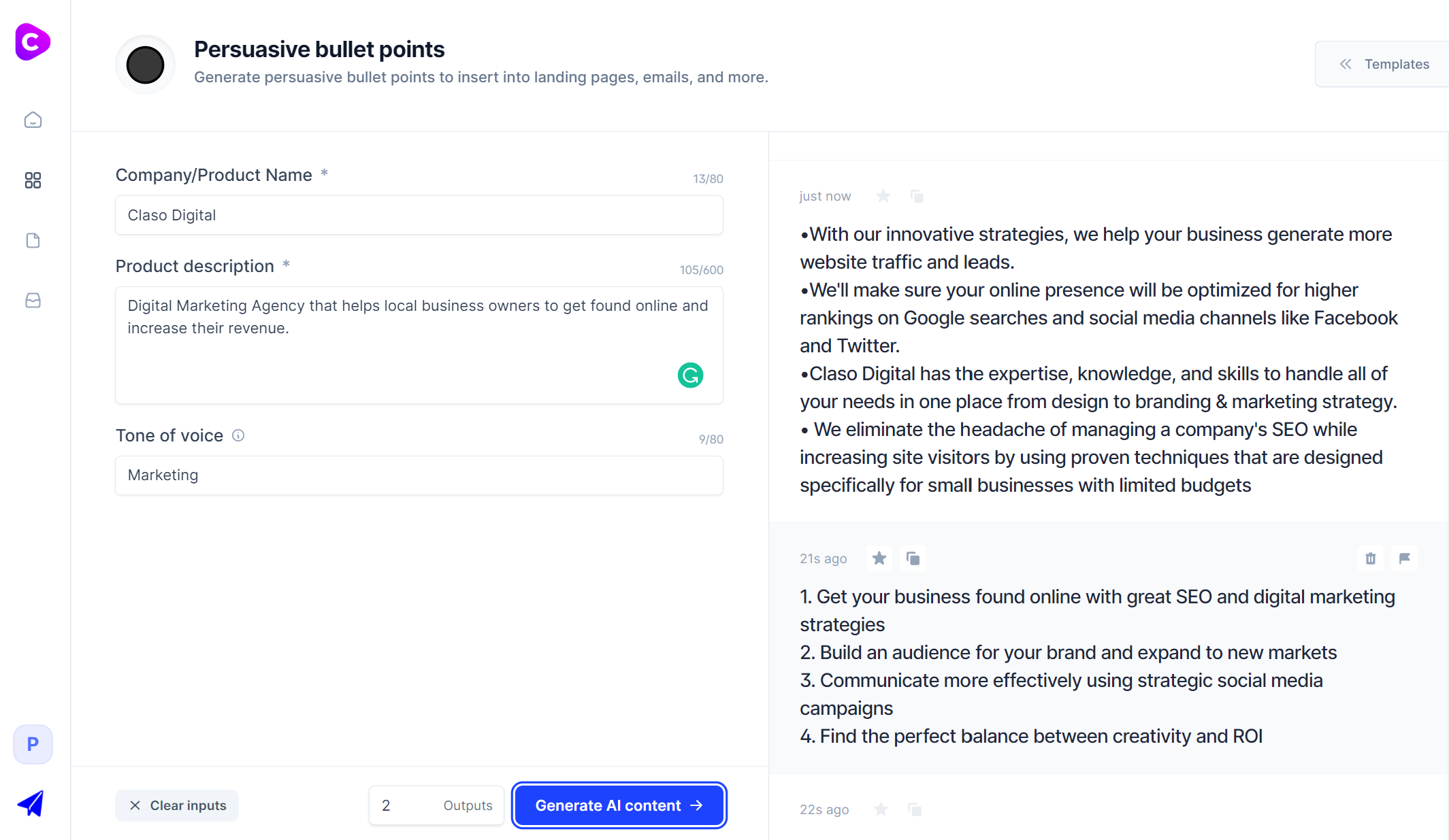 Jarvis.ai - Persuasive Bullet Points Template