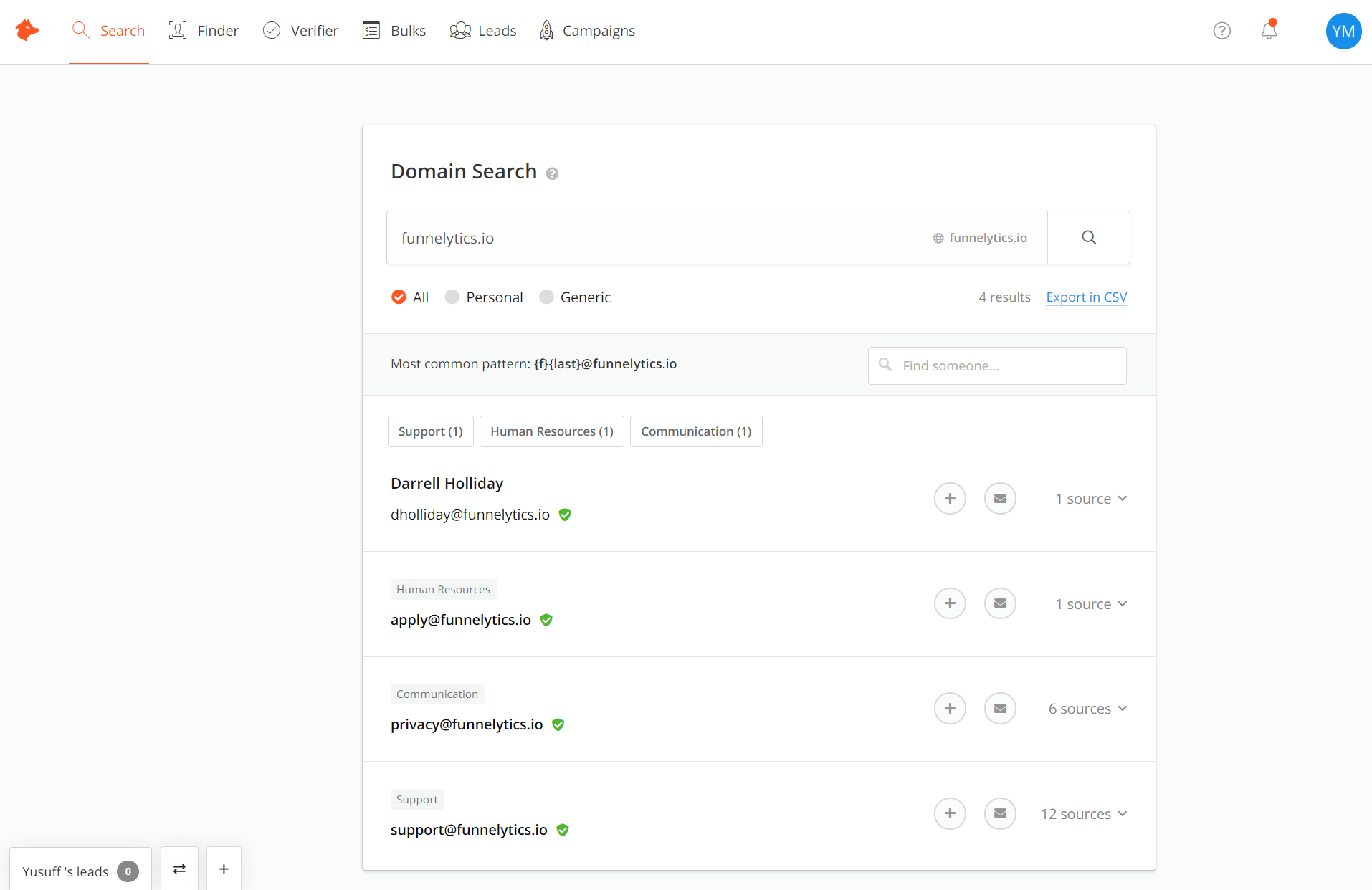 Hunter.io - Email Search Results