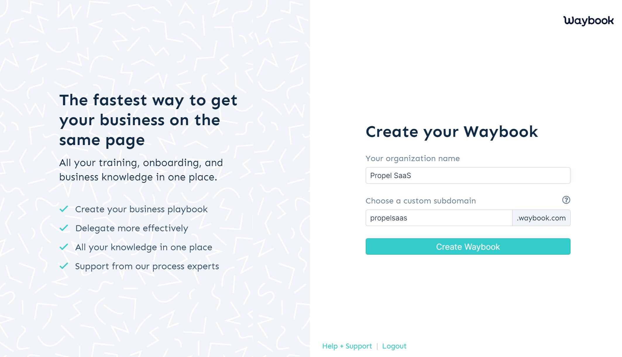 Waybook - Sign up