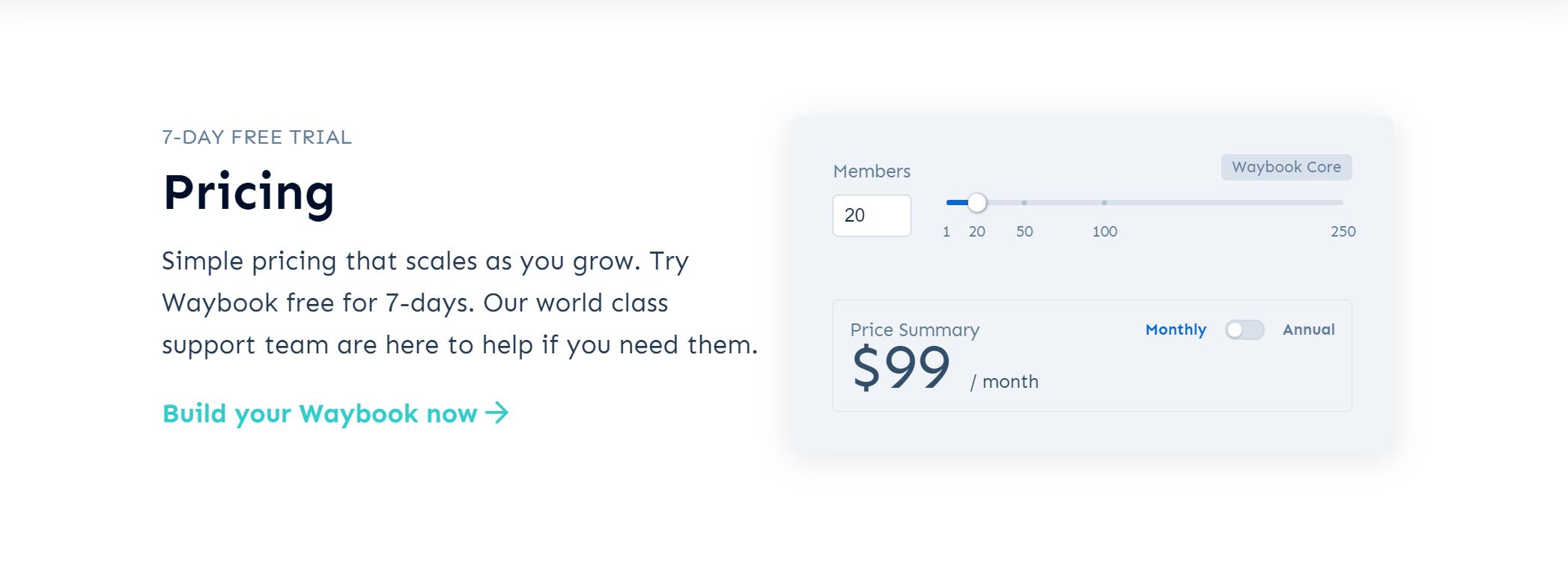 Waybook - Pricing