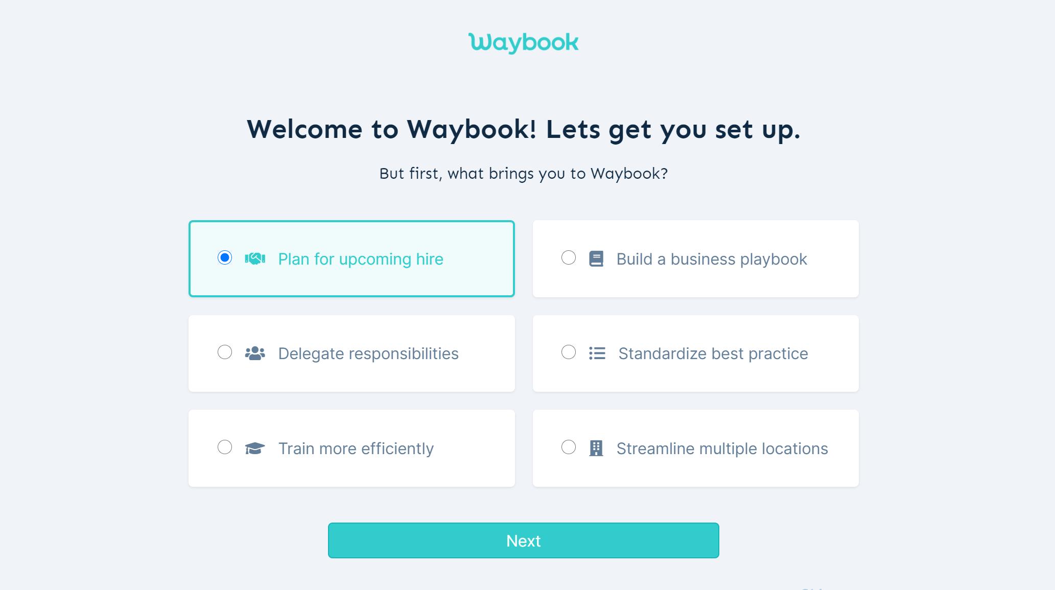 Waybook - Onboarding