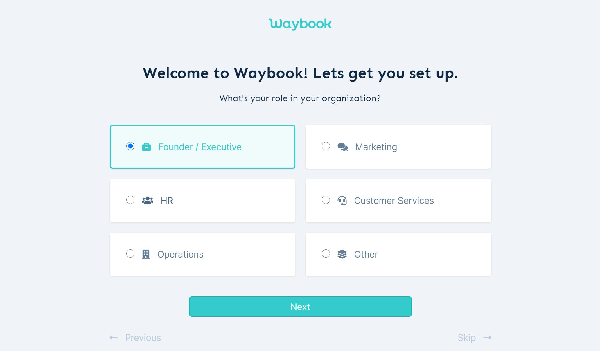 Waybook - Onboarding process