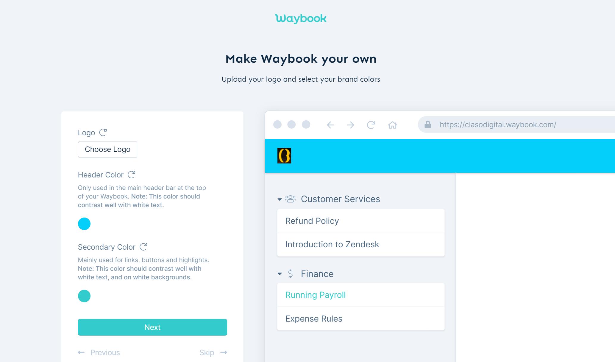 Waybook - Dashboard Customization