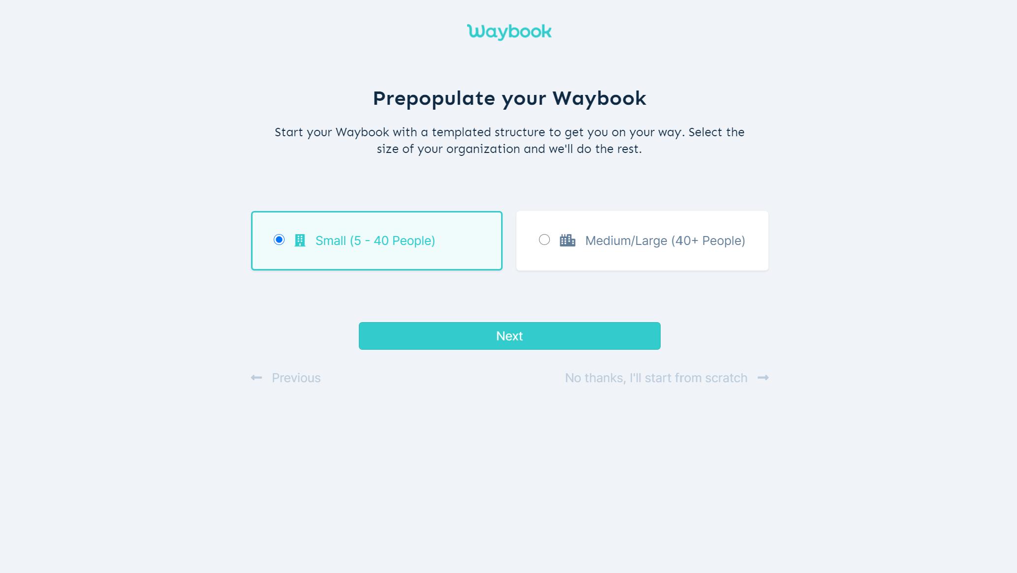 Waybook - Team set up