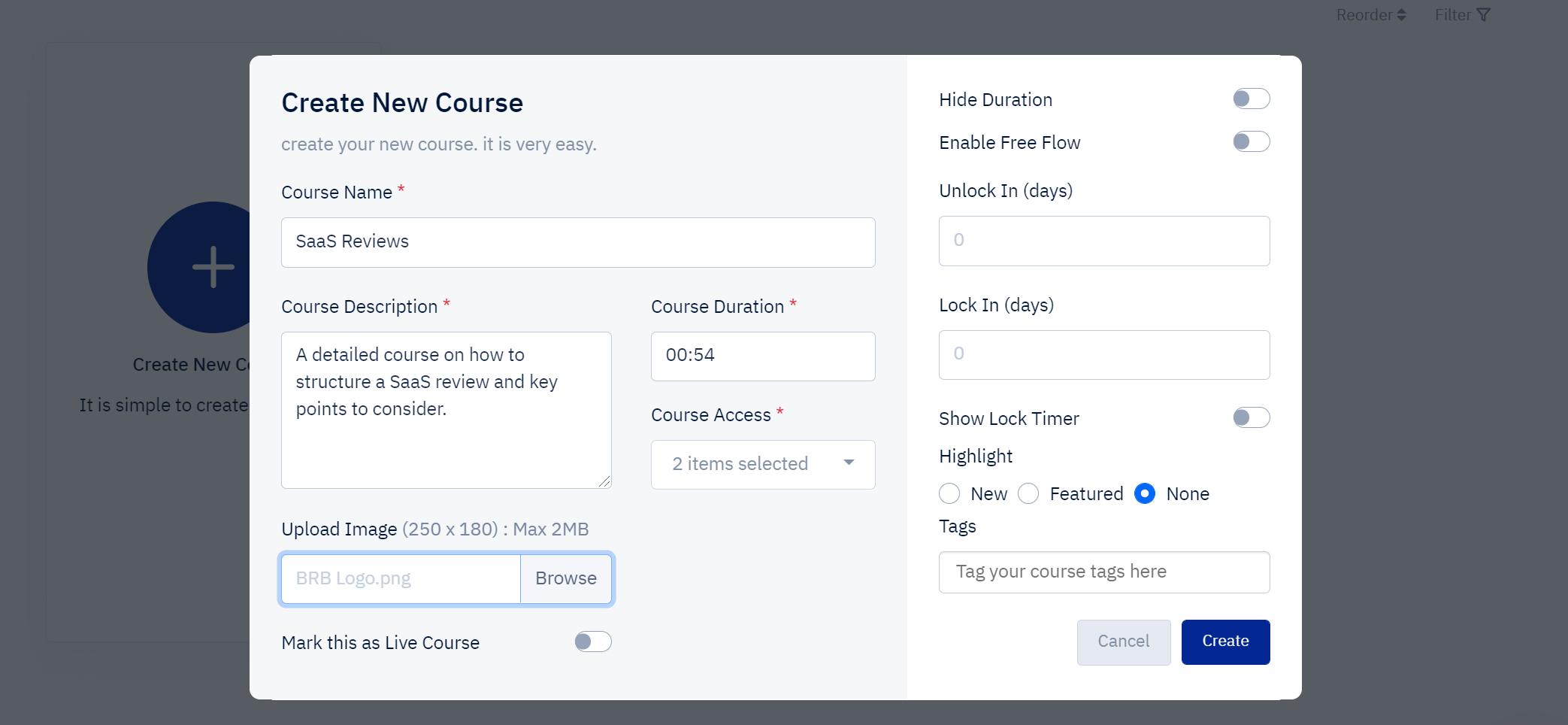 Acadle - Course setup