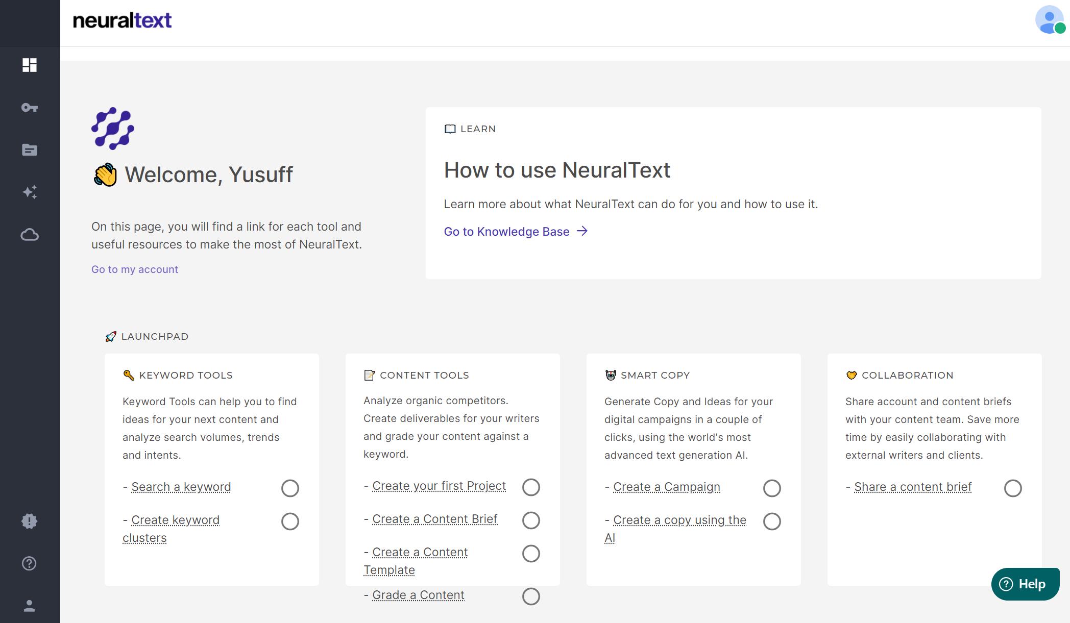 NeuralText - Dashboard