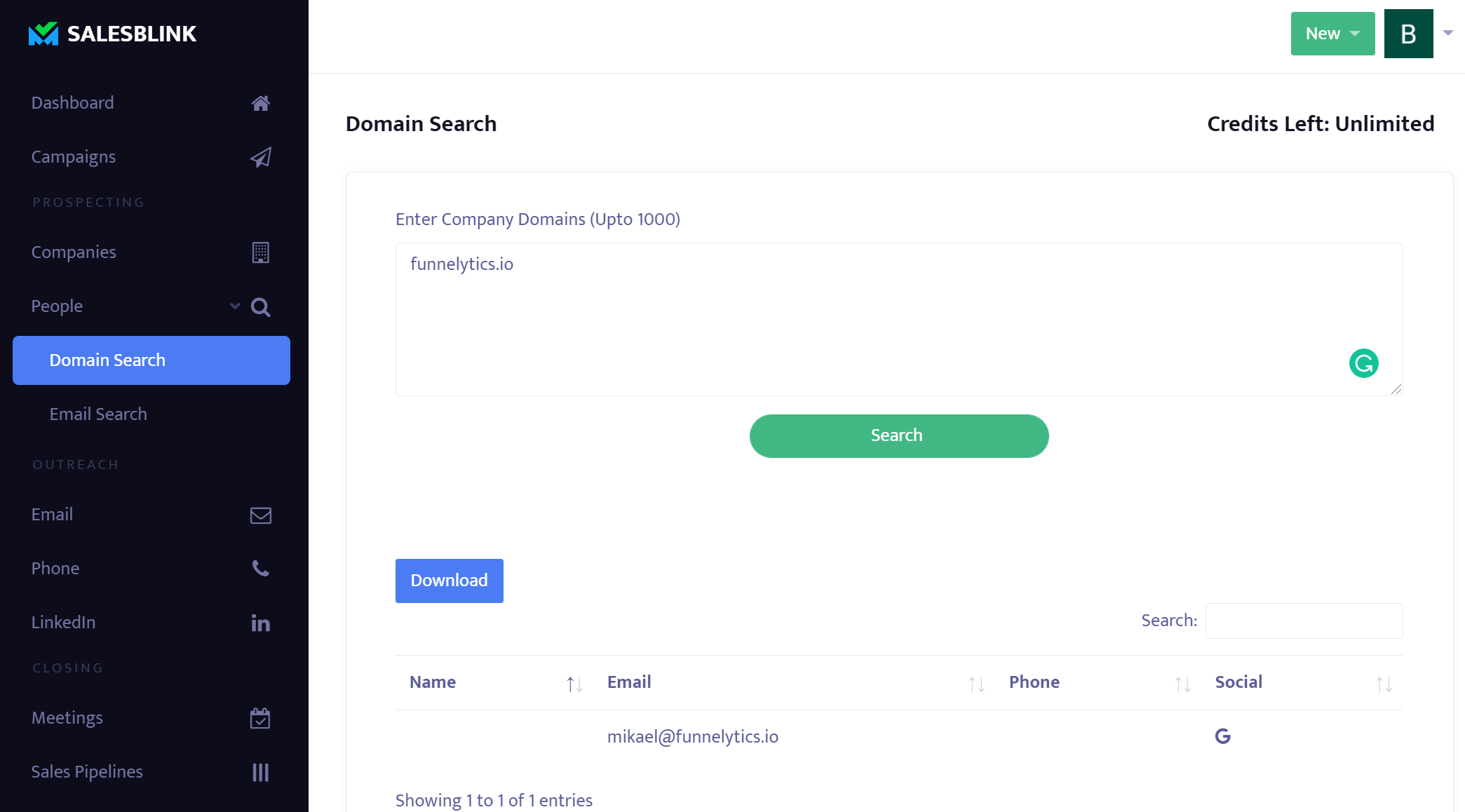 SalesBlink - B2B Company Database