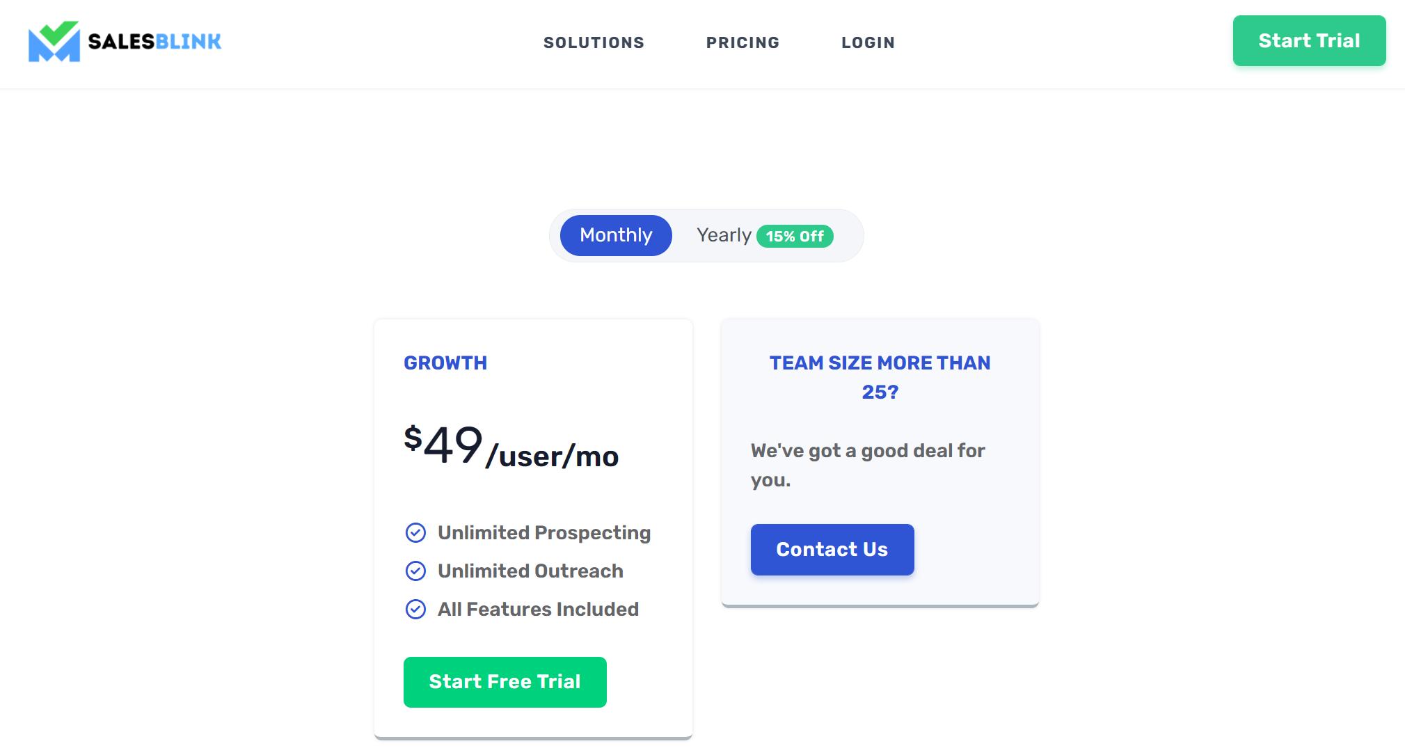 SalesBlink - Pricing