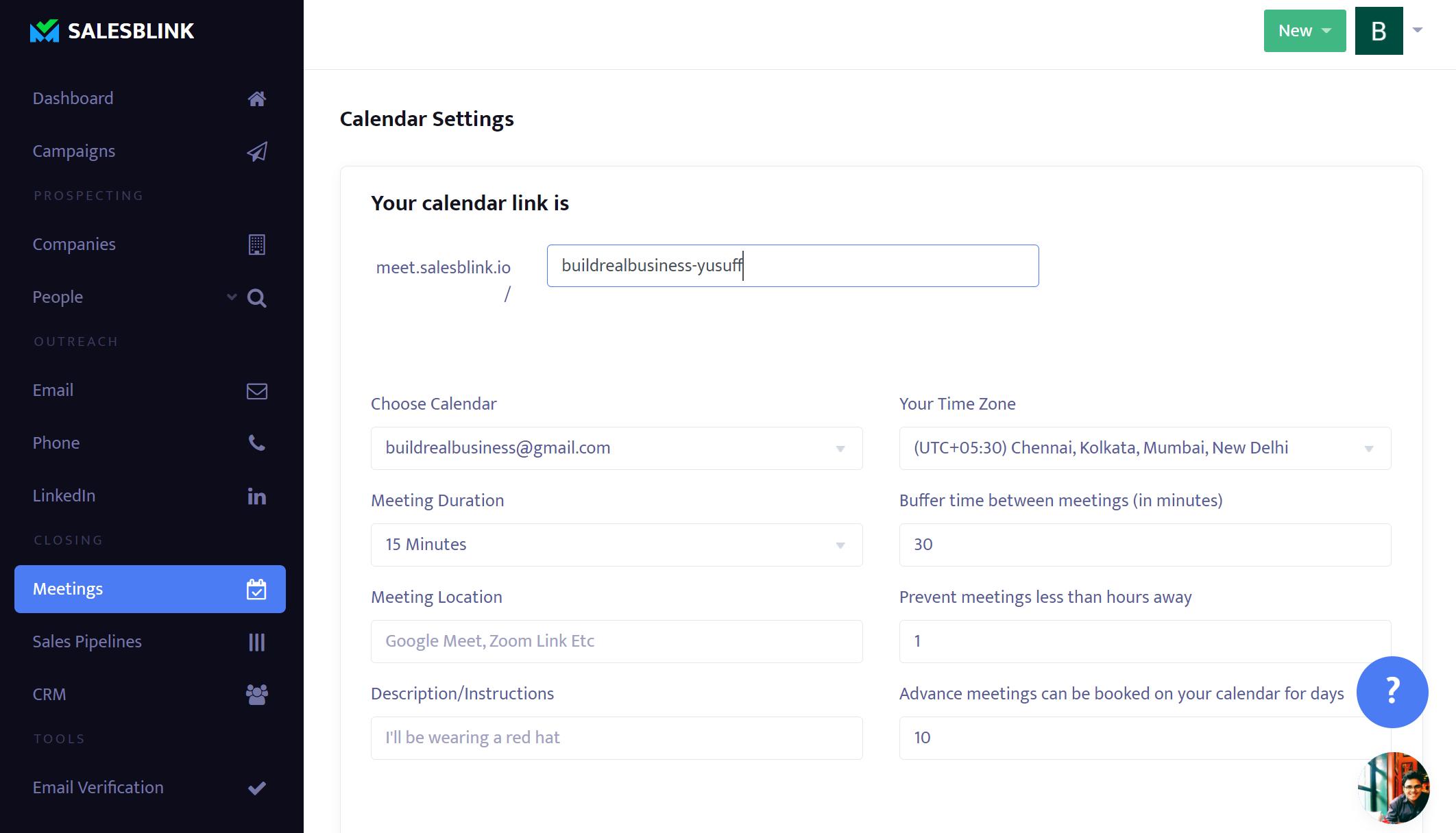 SalesBlink - Meeting link set up