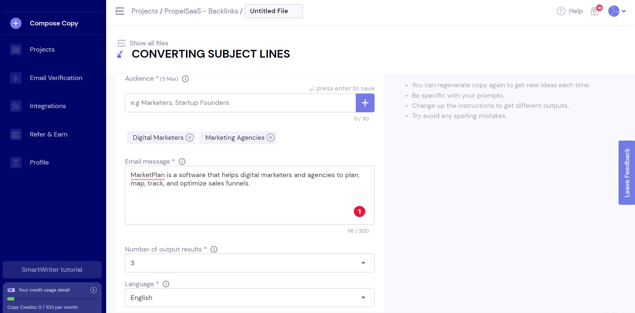 SmartWriter - Email Subject Lines