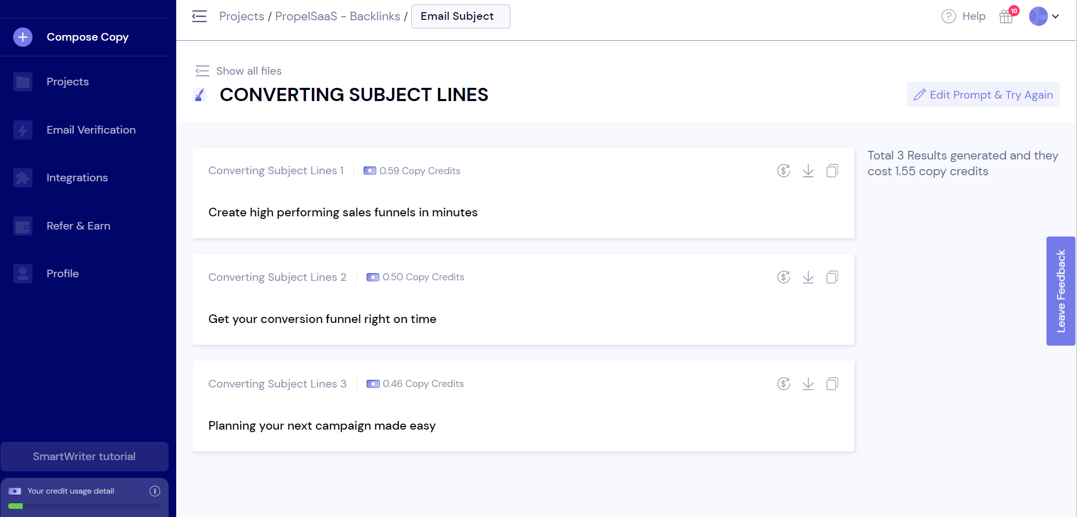 SmartWriter - Email Subject Lines Generated