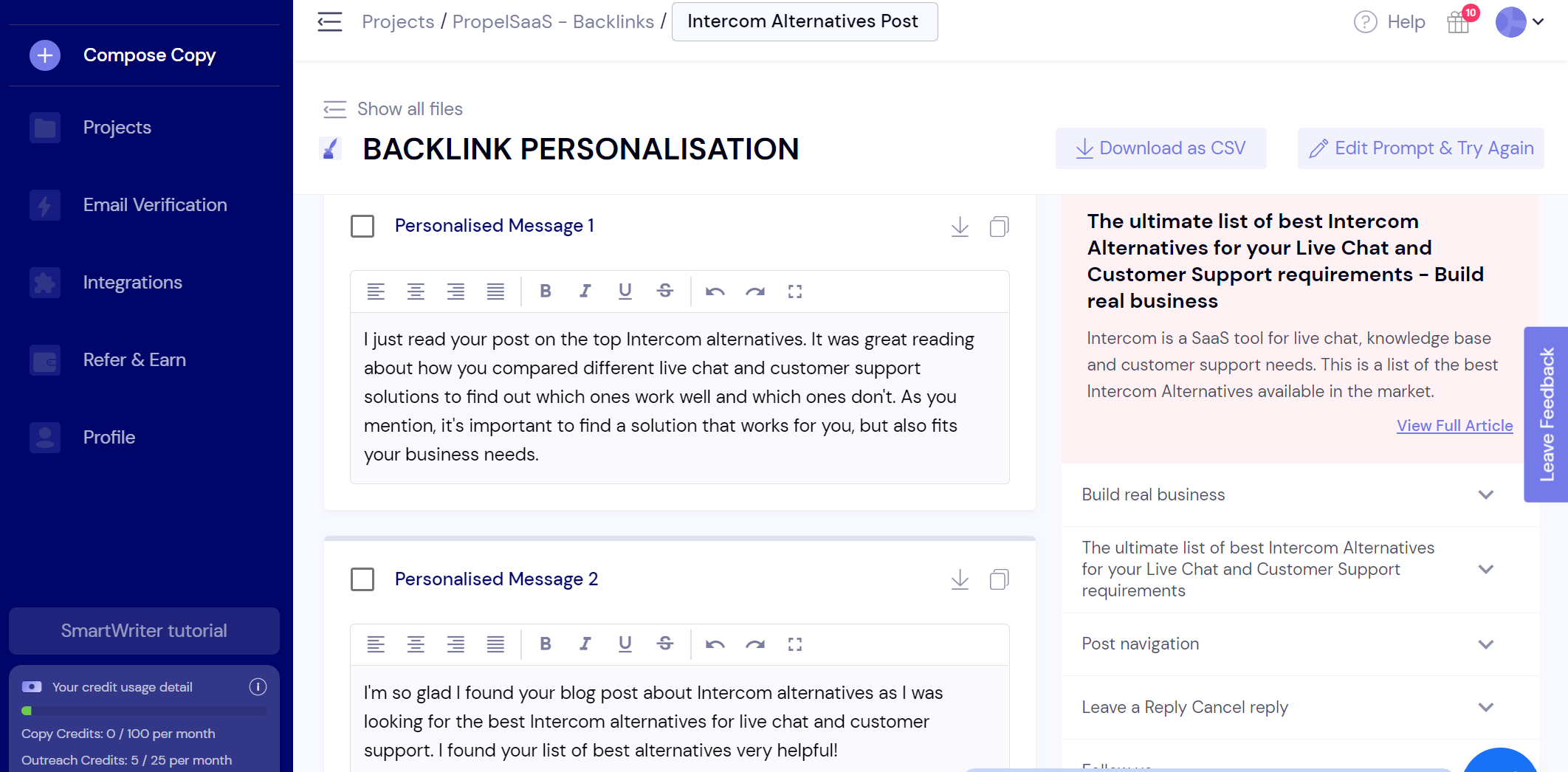 SmartWriter - Personalized Backlink Outreach
