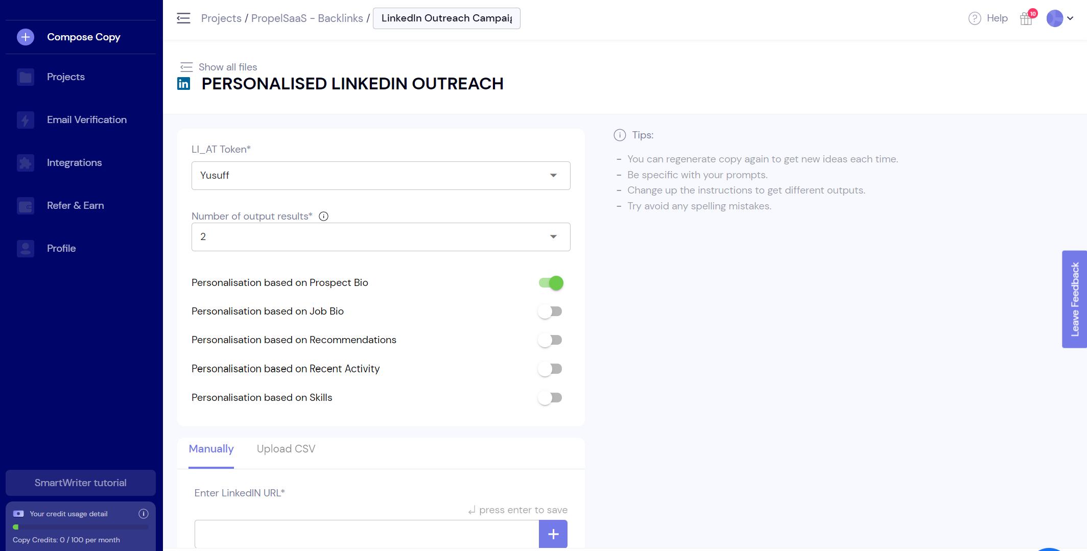 SmartWriter - LinkedIn Outreach